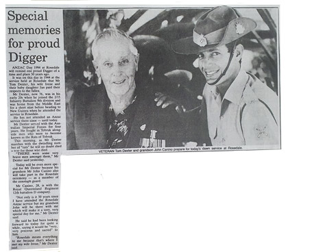 thomas dexter news article anzac day 1994