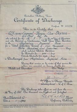 clive dexter certificate of discharge
